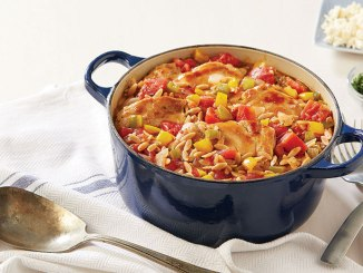 Pot filled with chicken and orzo