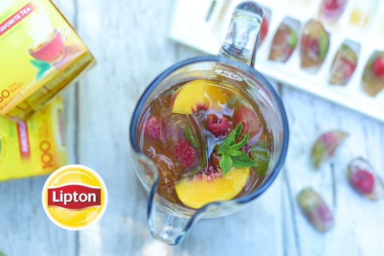 Homemade Peach-Raspberry Iced Tea