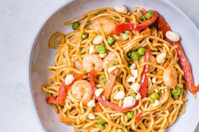 Thai-Style Peanut Sauce Noodles with Shrimp