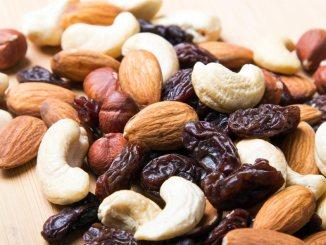 Nuts and raisins closeup