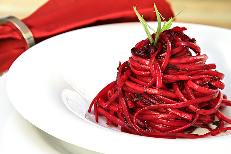 Linguini with roasted beets and fresh tarragon