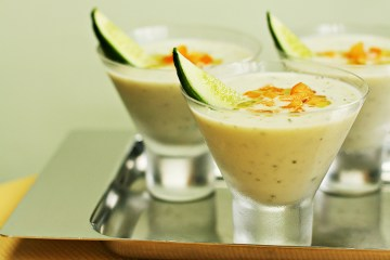 Chilled cucumber soup with yogurt and fresh mint