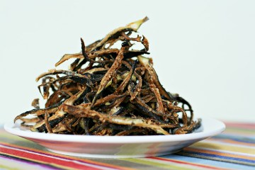 Burgundy okra shoestring fries