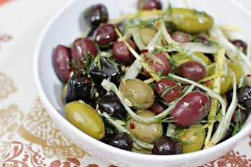 Marinated olives with fennel, lemon and chili pepper