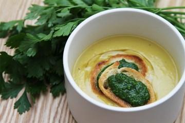 Yukon Gold potato-leek soup with parsley pesto crostini