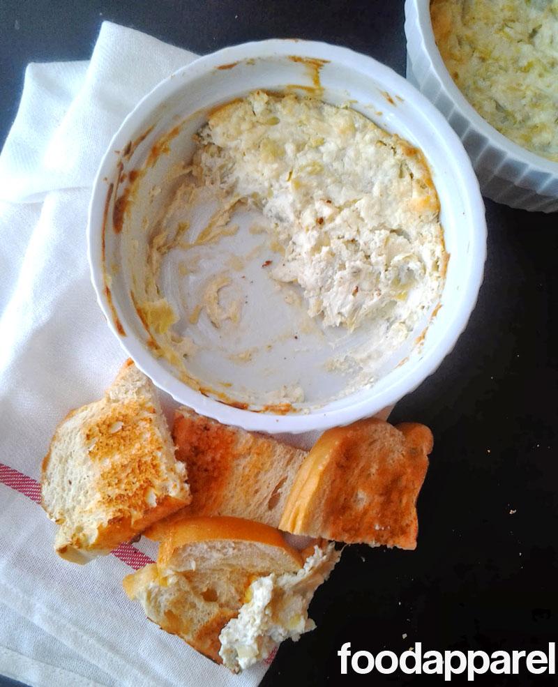Hot Cheesy Artichoke Dip at FoodApparel.com