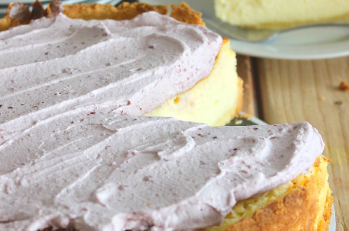 Vanilla Bean Cheesecake Recipe with Lemon Cookie Crust and Sour Whipped Cream Topping