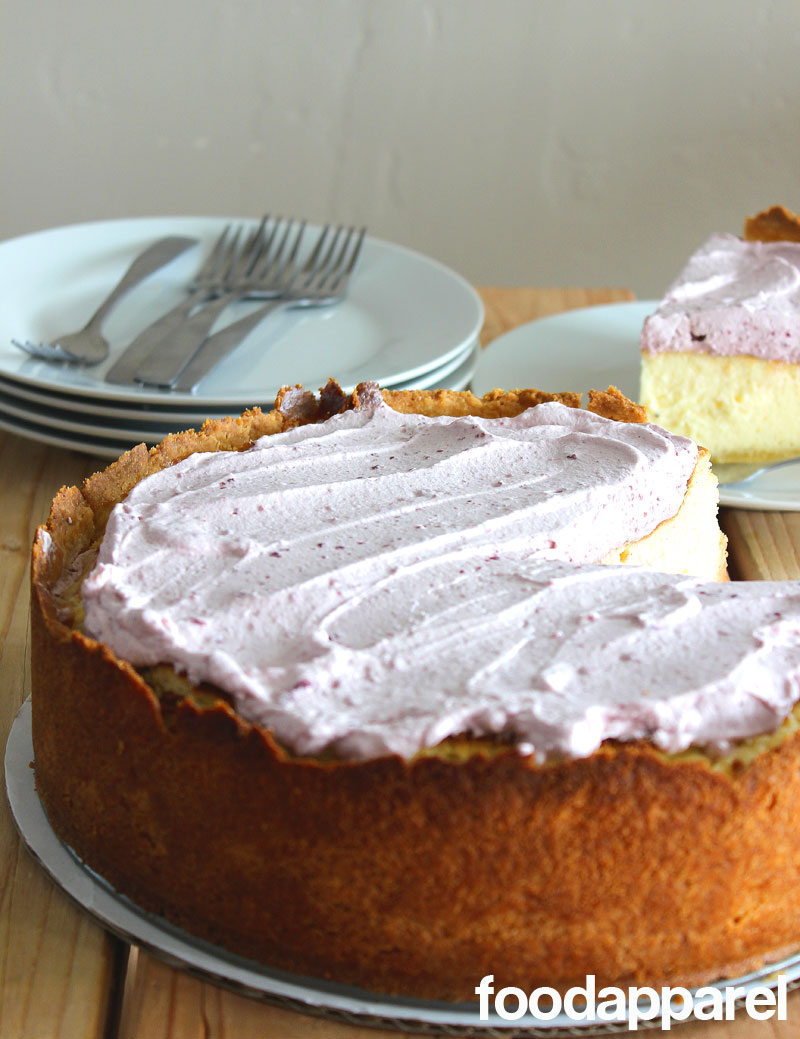 Vanilla Bean Cheesecake with Lemon Crust and Sour Cream Whipped Topping at FoodApparel.com