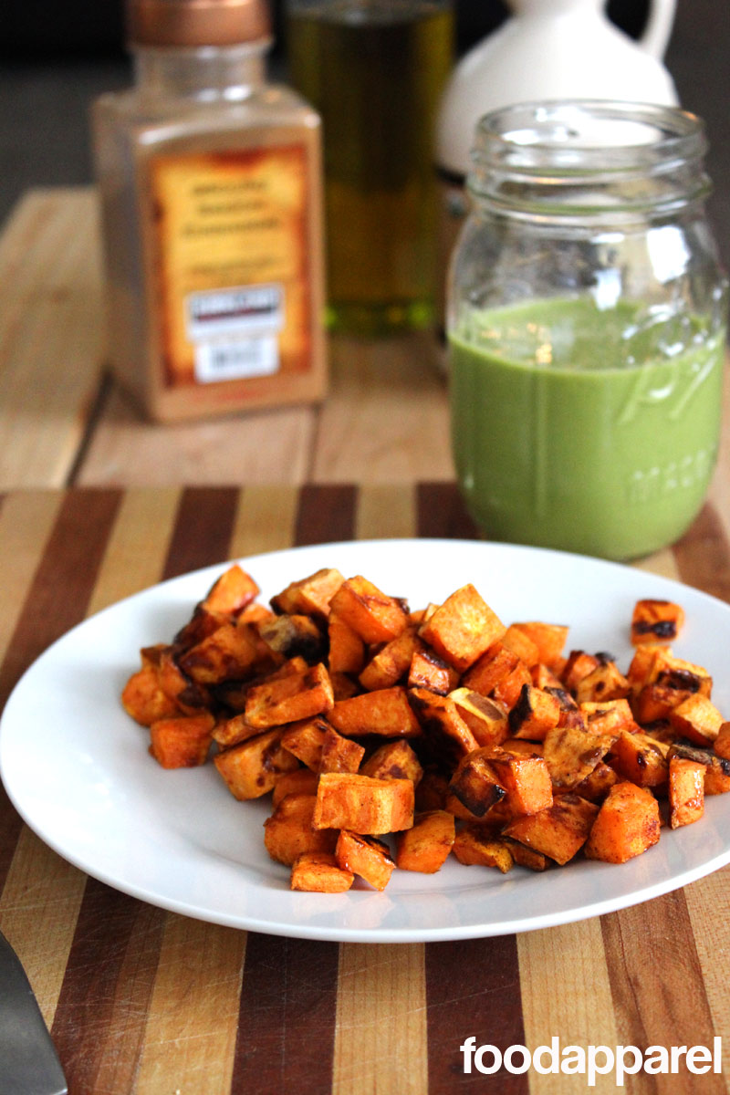 Maple Cinnamon Roasted Sweet Potatoes at FoodApparel.com. Crunchy sweetness on the outside, creamy goodness on the inside!