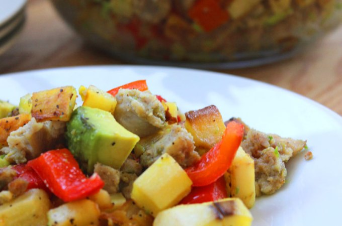 Sweet Potato Hash with Sausage and Avocado Recipe