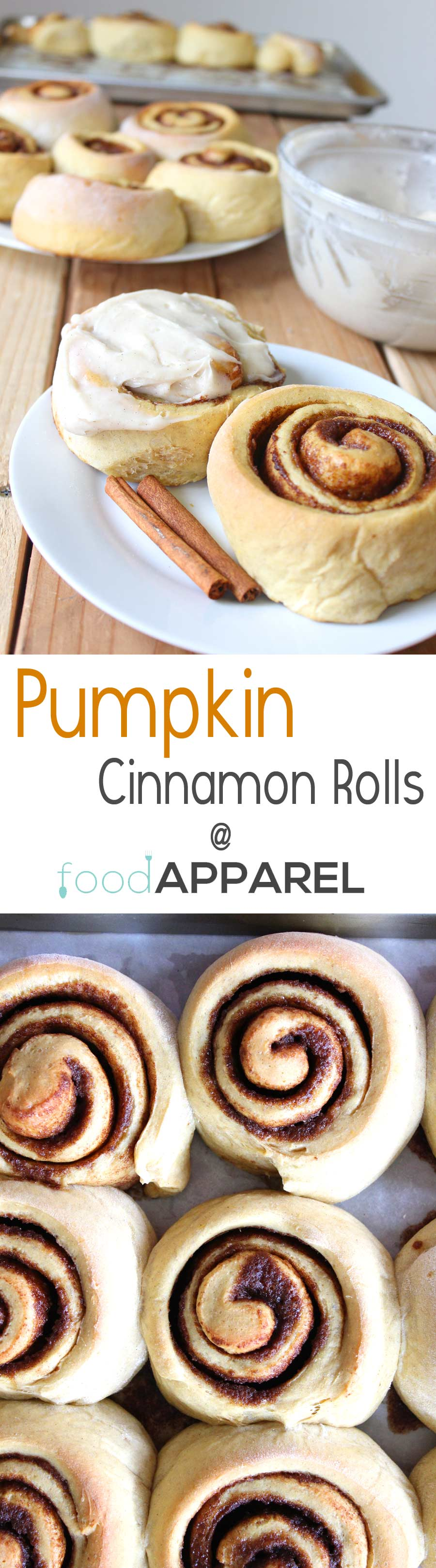 Pumpkin Cinnamon Rolls with Cinnamon Cream Cheese Frosting. These are just screaming for you to make 'em! #recipe @foodapparel