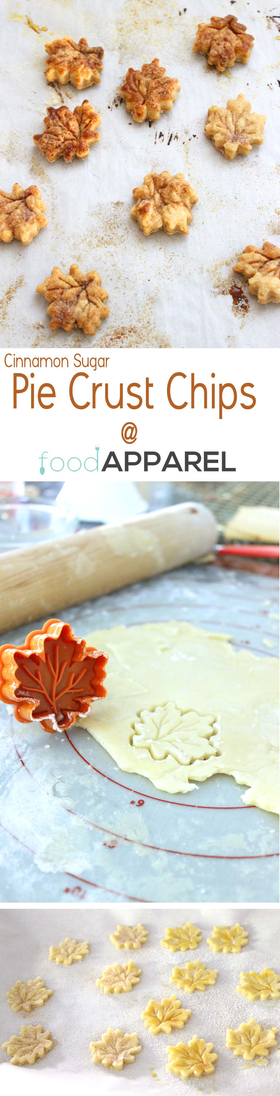 The cutest cinnamon sugar pie crust chips! Now you can enjoy your pie crust scraps with style @foodapparel