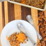 Sweet Potato Casserole with Candied Pecan Crust Recipe. Not overly sweet, just overly delicious! @foodapparel