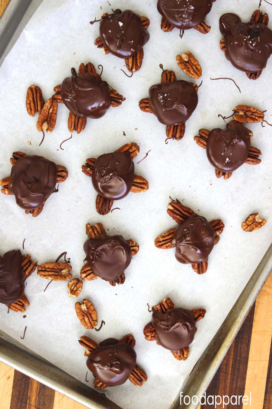Homemade Turtles Recipe (Caramel, Pecan, and Chocolate Clusters) . Completes any chocolate box! @foodapparel