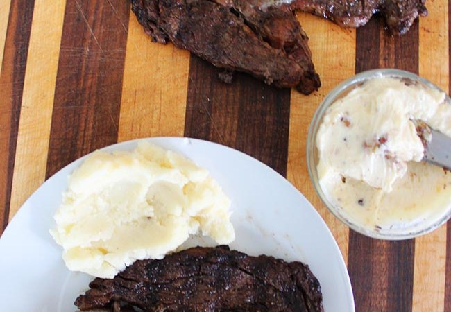 Grilled Ribeye Steak with Garlic Truffle Butter Recipe