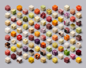 This is a Real Photo of Food Cut Into Perfect Cubes