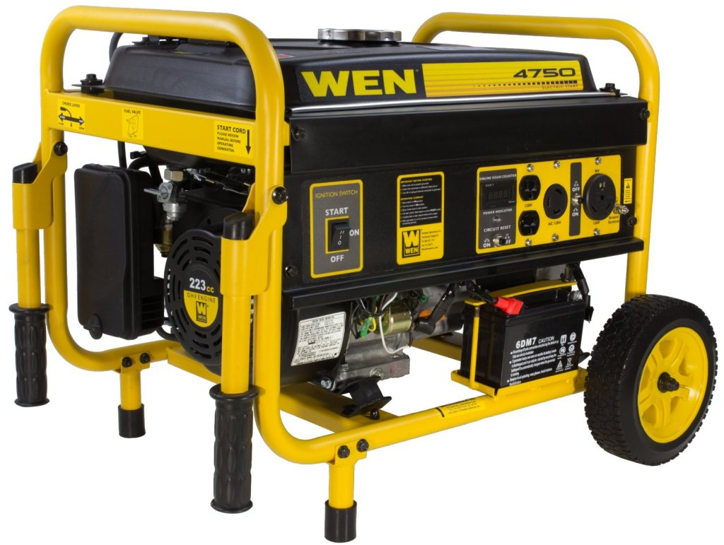The Wen 56475 Generator giving out 4750 surge watts and 3750 continuous
