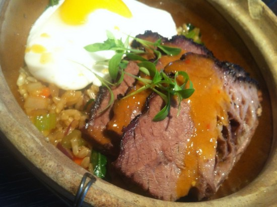 brisket and duck egg