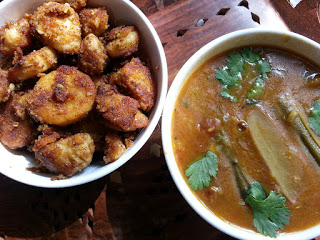 roasted seppankezhangu and drumstick sambar