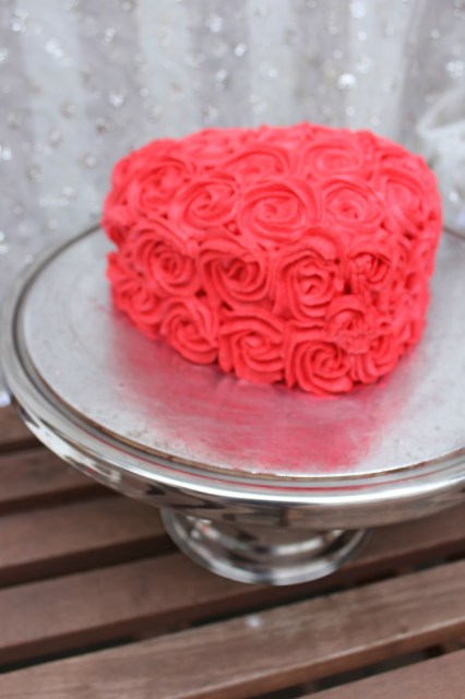 red rosette cake, whipped cream rosette cake