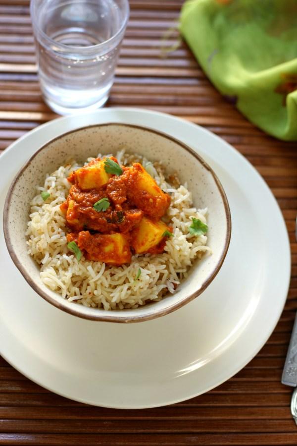 Paneer rice meal