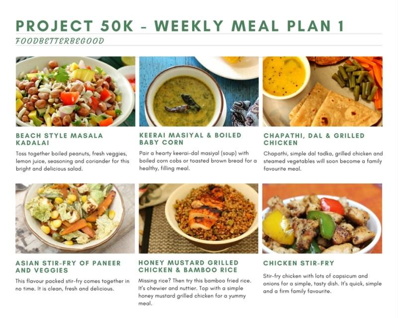 Project 50k Weekly Meal Plan 1 – Diet Meal Plan | Food