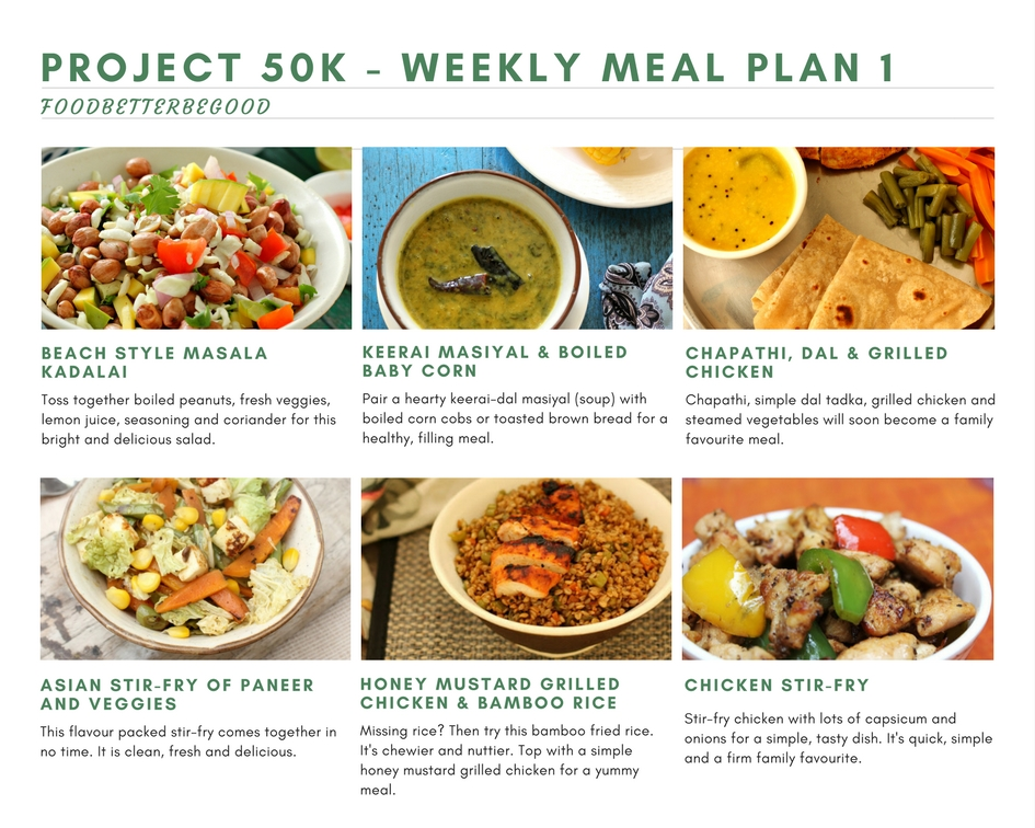 Project 50k Weekly Meal Plan 1 - Diet Meal Plan