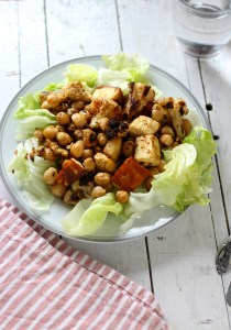 Roasted cauliflower paneer and chickpeas salad