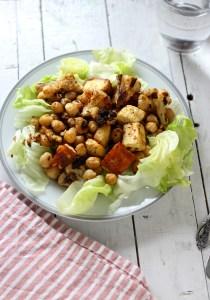 Roasted cauliflower paneer and chickpeas salad