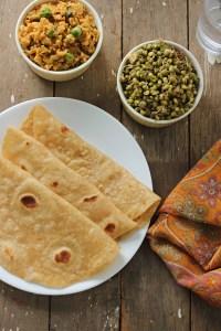 Chappathi, gobi mince & sprouts stirfry