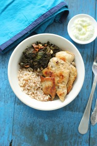 Rice, Grilled chicken & greens