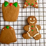 vegan gingerbread cutout cookies decorated with royal icing