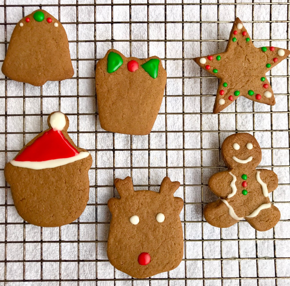 Selection of vegan gingerbread cookies decorated