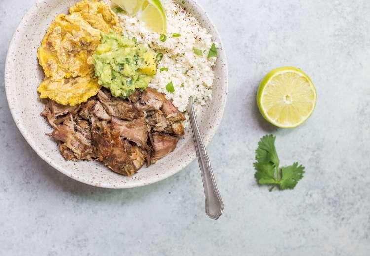 Paleo Carnitas Bowl (Crispy Pulled Pork with Cauliflower Rice, Guac and Tostones) via Food by Mars