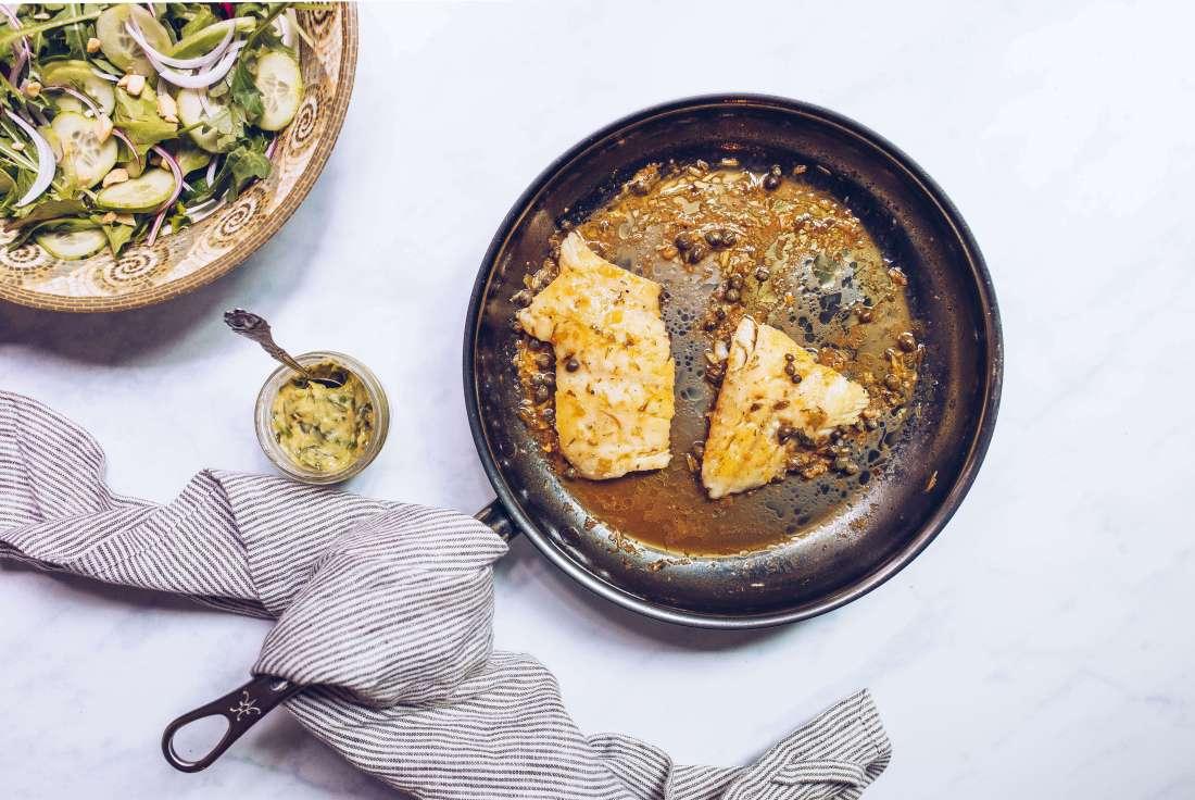 Pan-seared cod with lemon-caper sauce via Food by Mars (Paleo, Whole30)