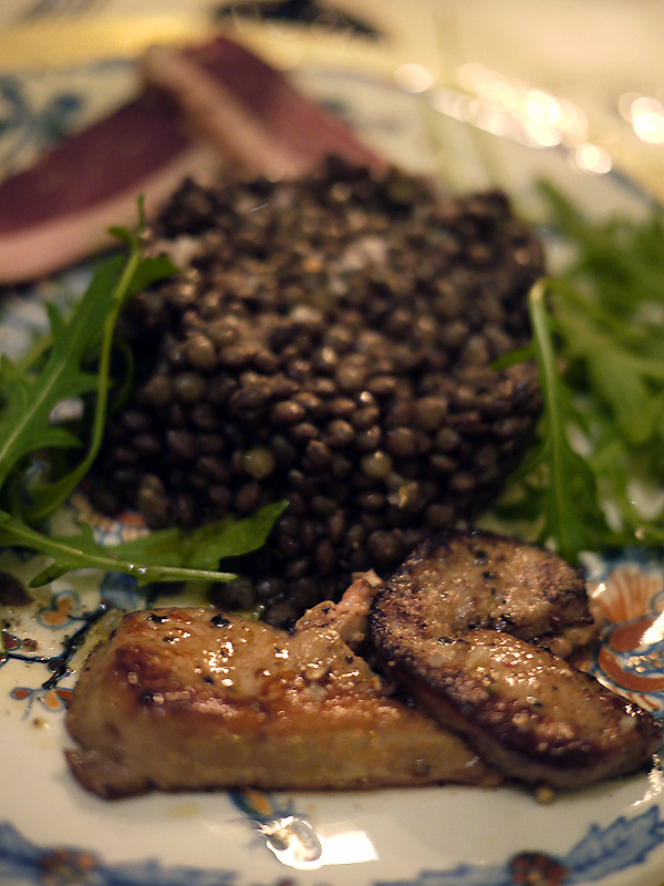 Foie Gras with lentils and cured duck
