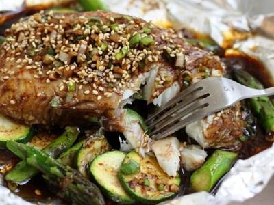 Shanghai Steamed Black Cod with Summer Vegetables