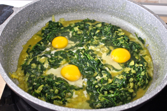 Add 3 eggs and wait till they cook half way