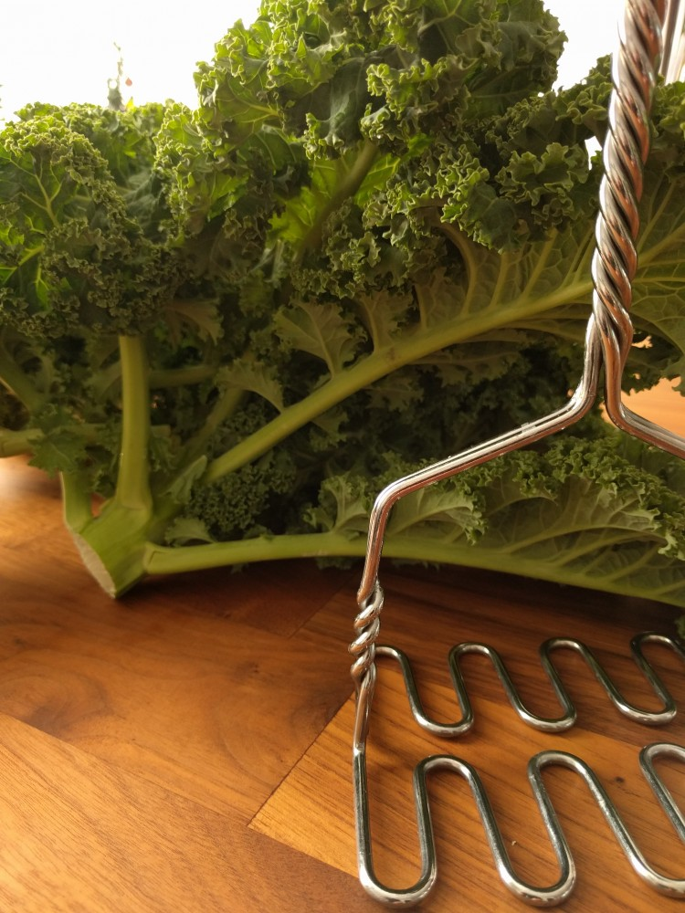 kale leaves + masher