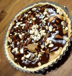 pear pie with chocolate and almonds