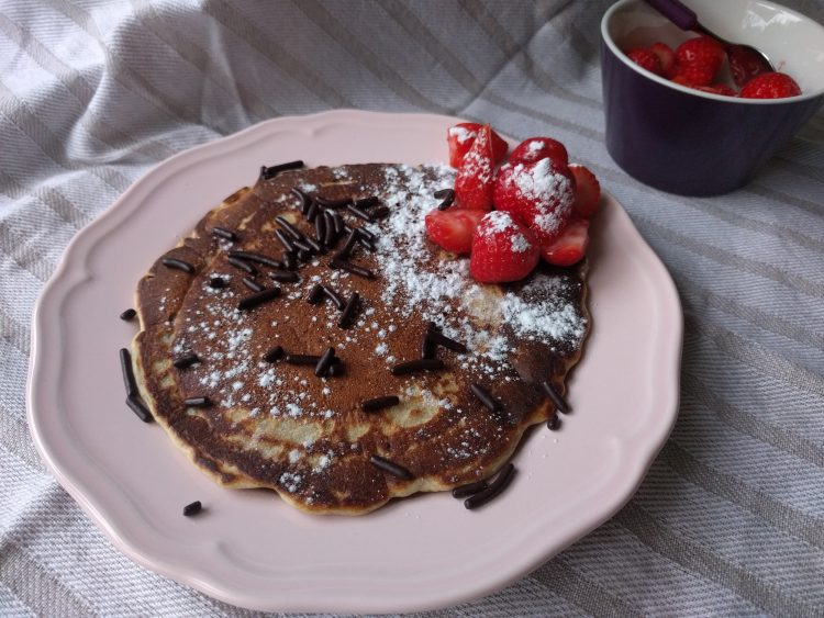 eggless pancake with almond flour, strawberries and chocolate