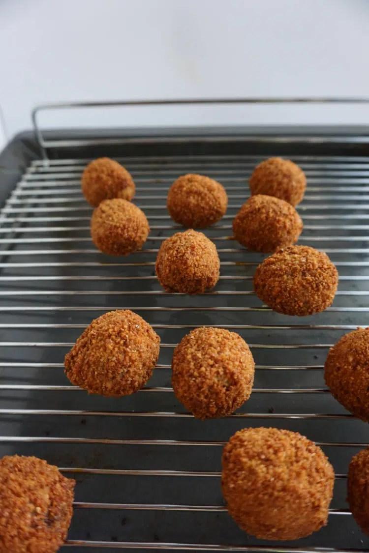 bitterballen prepared in the oven
