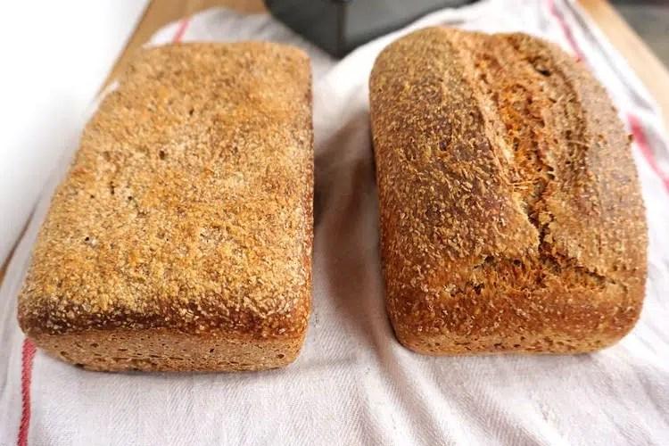 left dough risen too long, right dough risen well, two loafs