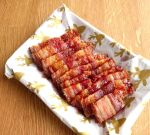 bacon slices, baked in the oven on at tray