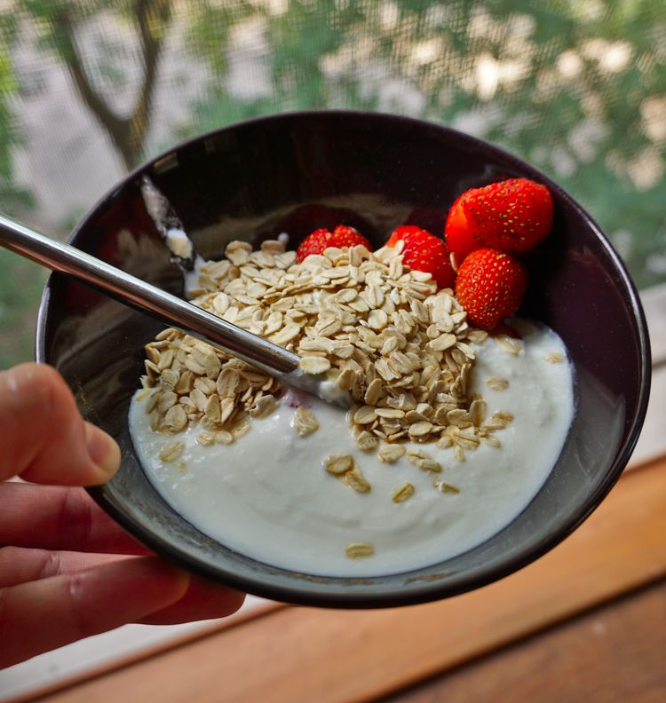 homemade yogurt with strawberries and oats