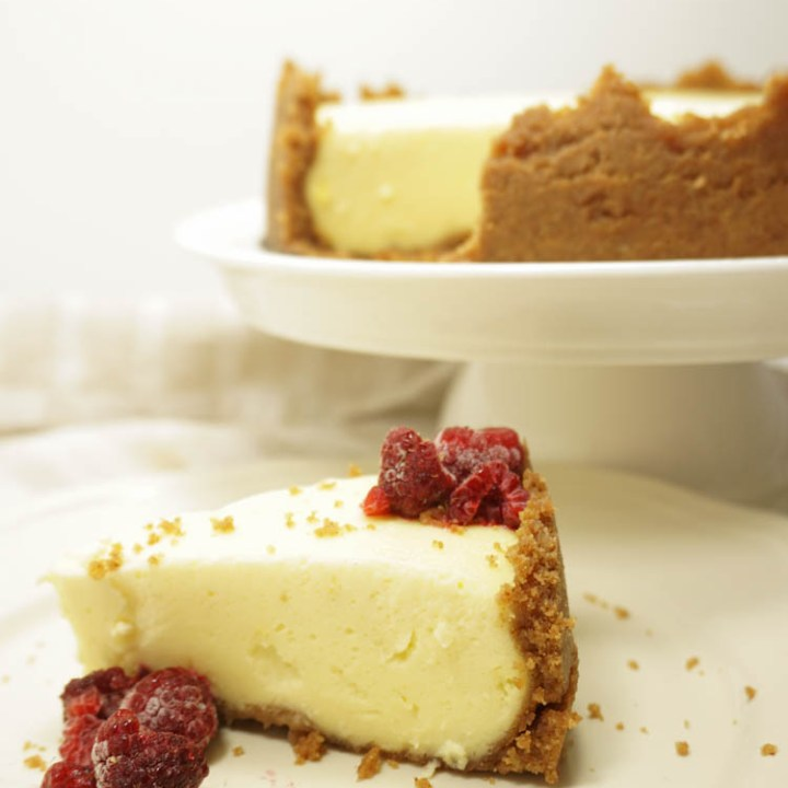 slice of Instant Pot cheesecake