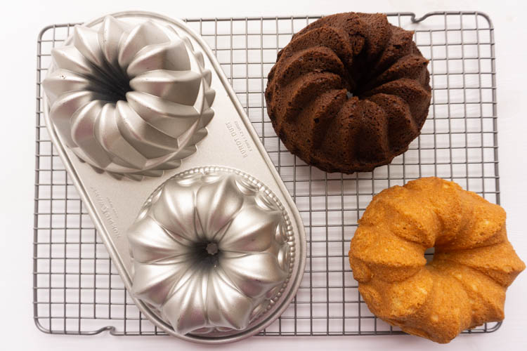 two small bundt cakes, madeira and chocolate