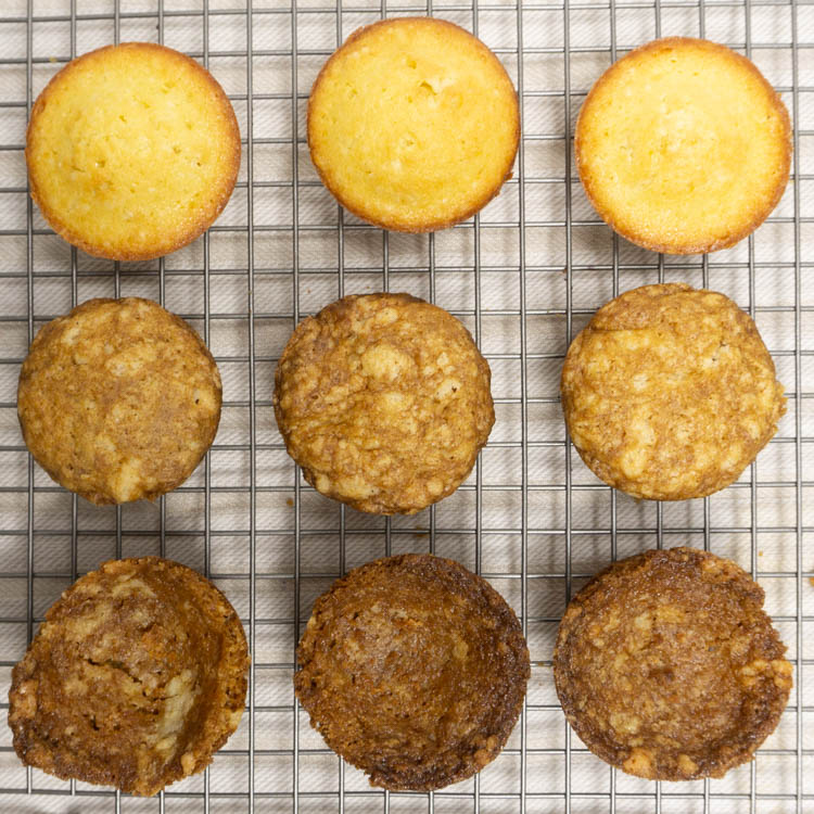 pound cake muffin test egg replacer