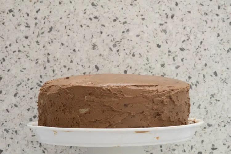 chocolate mousse coated cake