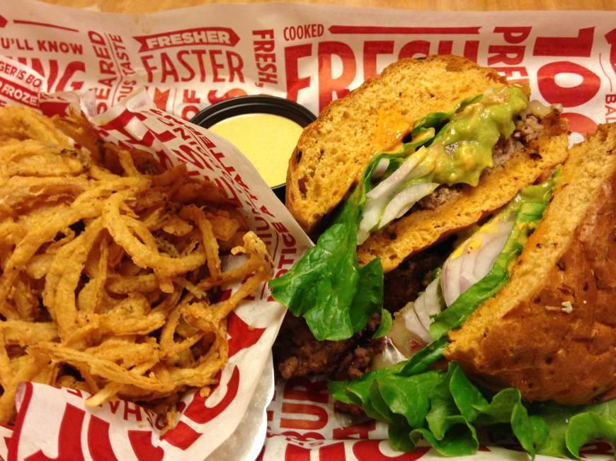 Spicy Jalapeno Baja Burger & Onion Haystack.